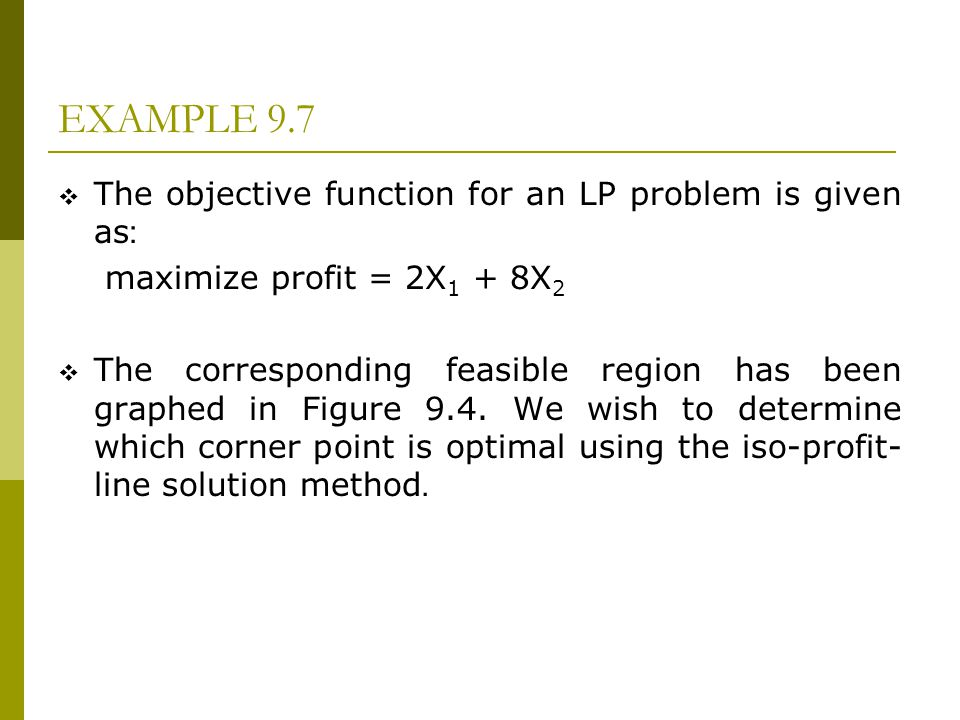 EXAMPLE 9.7 The objective function for an LP problem is given as: maximize profit = 2X 1 + 8X 2 The corresponding feasible region has been graphed in