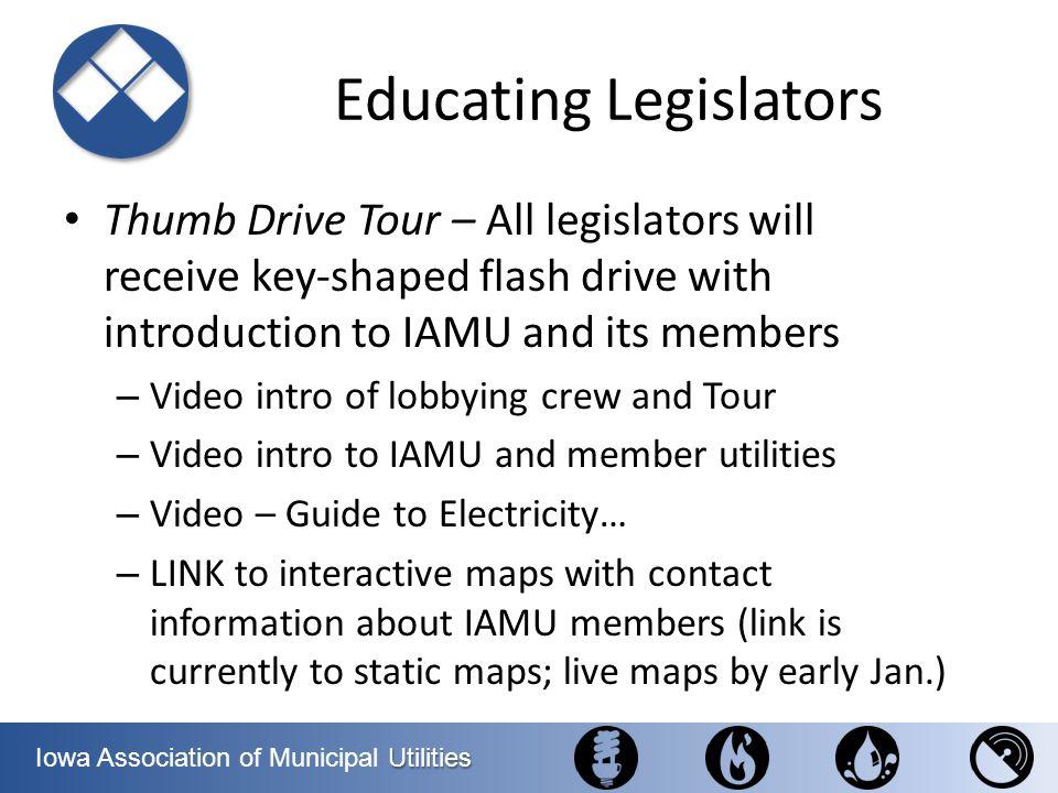 Utilities Iowa Association of Municipal Utilities Educating Legislators Thumb Drive Tour – All legislators will receive key-shaped flash drive with in