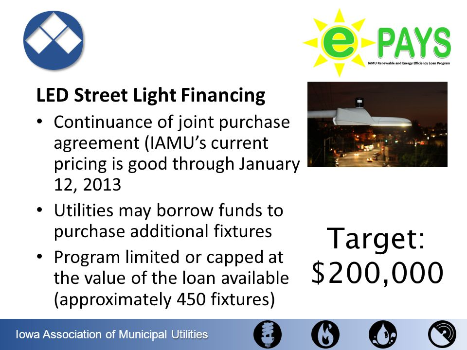 Utilities Iowa Association of Municipal Utilities LED Street Light Financing Continuance of joint purchase agreement (IAMUs current pricing is good th