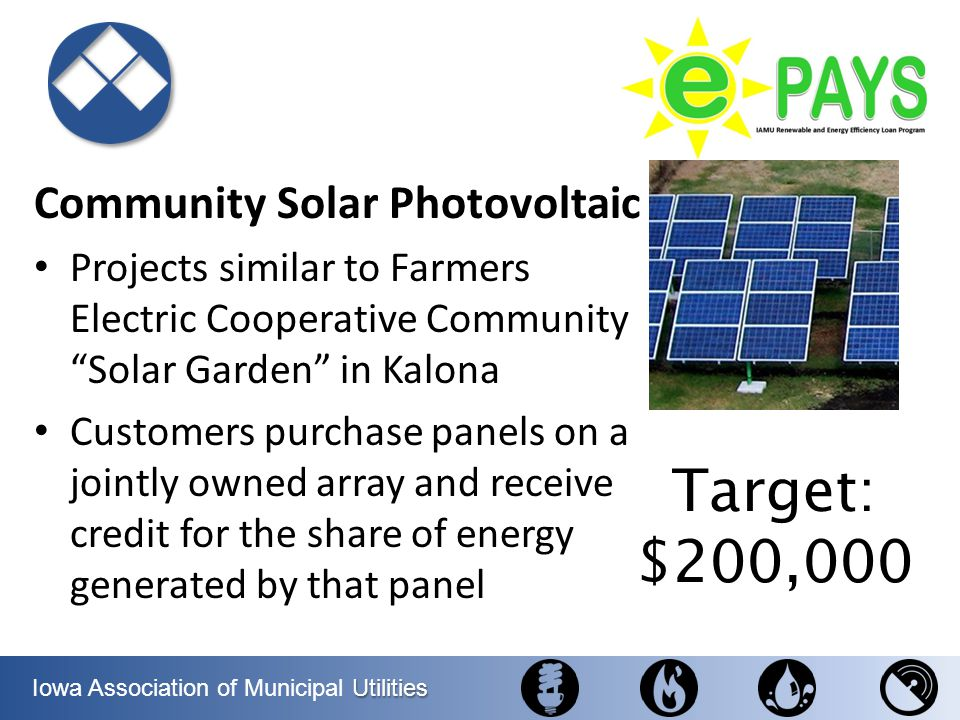 Utilities Iowa Association of Municipal Utilities Community Solar Photovoltaic Projects similar to Farmers Electric Cooperative Community Solar Garden