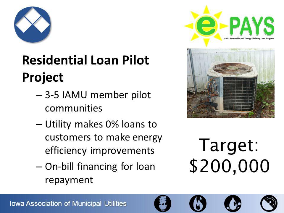 Utilities Iowa Association of Municipal Utilities Residential Loan Pilot Project – 3-5 IAMU member pilot communities – Utility makes 0% loans to custo