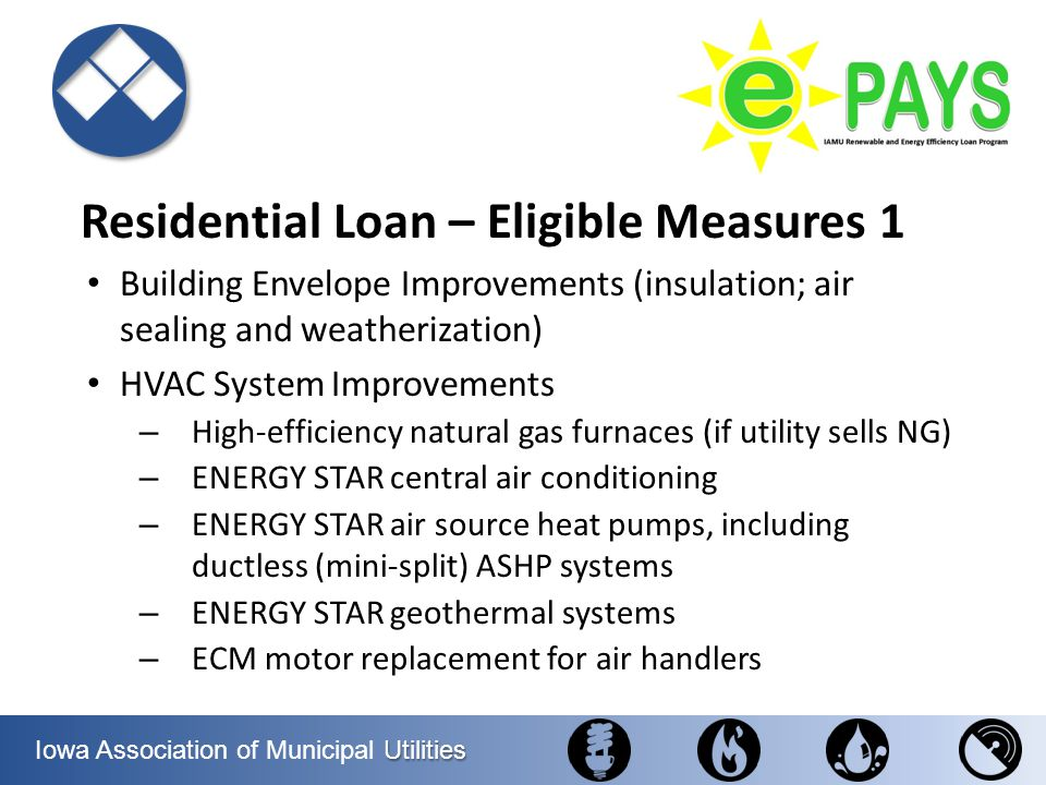 Utilities Iowa Association of Municipal Utilities Residential Loan – Eligible Measures 1 Building Envelope Improvements (insulation; air sealing and w