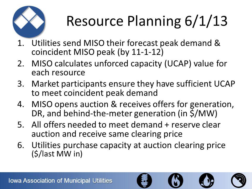 Utilities Iowa Association of Municipal Utilities Resource Planning 6/1/13 1.Utilities send MISO their forecast peak demand & coincident MISO peak (by
