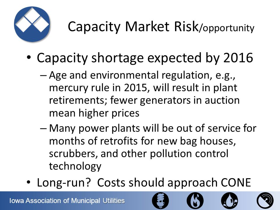 Utilities Iowa Association of Municipal Utilities Capacity Market Risk /opportunity Capacity shortage expected by 2016 – Age and environmental regulat