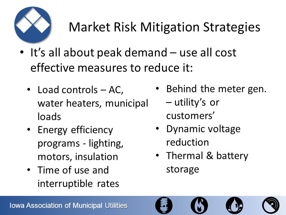Utilities Iowa Association of Municipal Utilities Market Risk Mitigation Strategies Its all about peak demand – use all cost effective measures to red