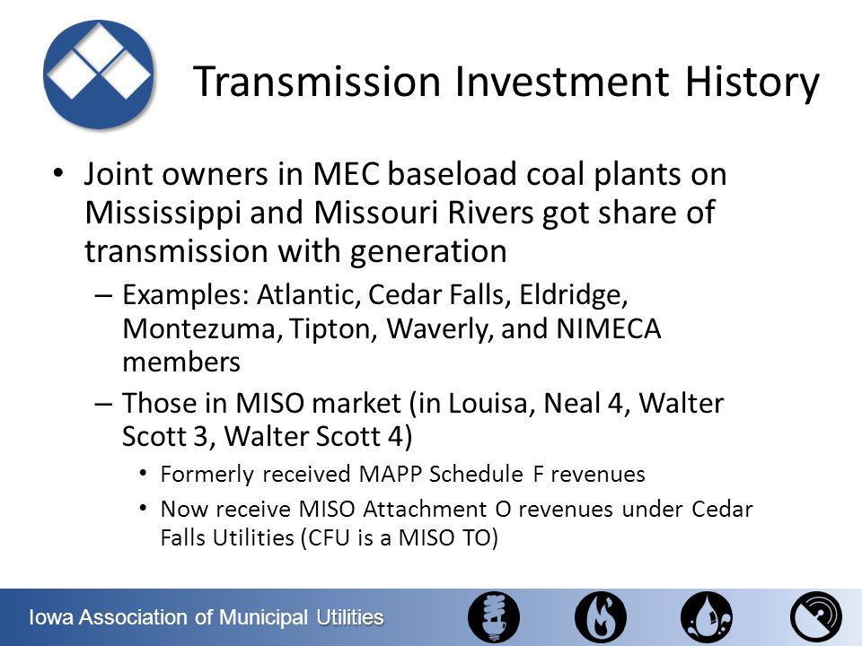 Utilities Iowa Association of Municipal Utilities Transmission Investment History Joint owners in MEC baseload coal plants on Mississippi and Missouri