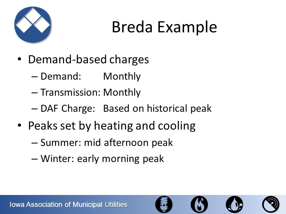 Utilities Iowa Association of Municipal Utilities Breda Example Demand-based charges – Demand:Monthly – Transmission:Monthly – DAF Charge:Based on his