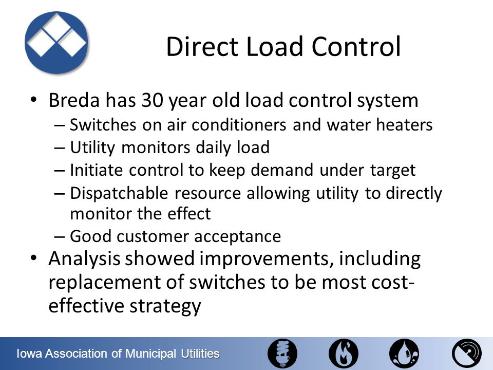 Utilities Iowa Association of Municipal Utilities Direct Load Control Breda has 30 year old load control system – Switches on air conditioners and wat
