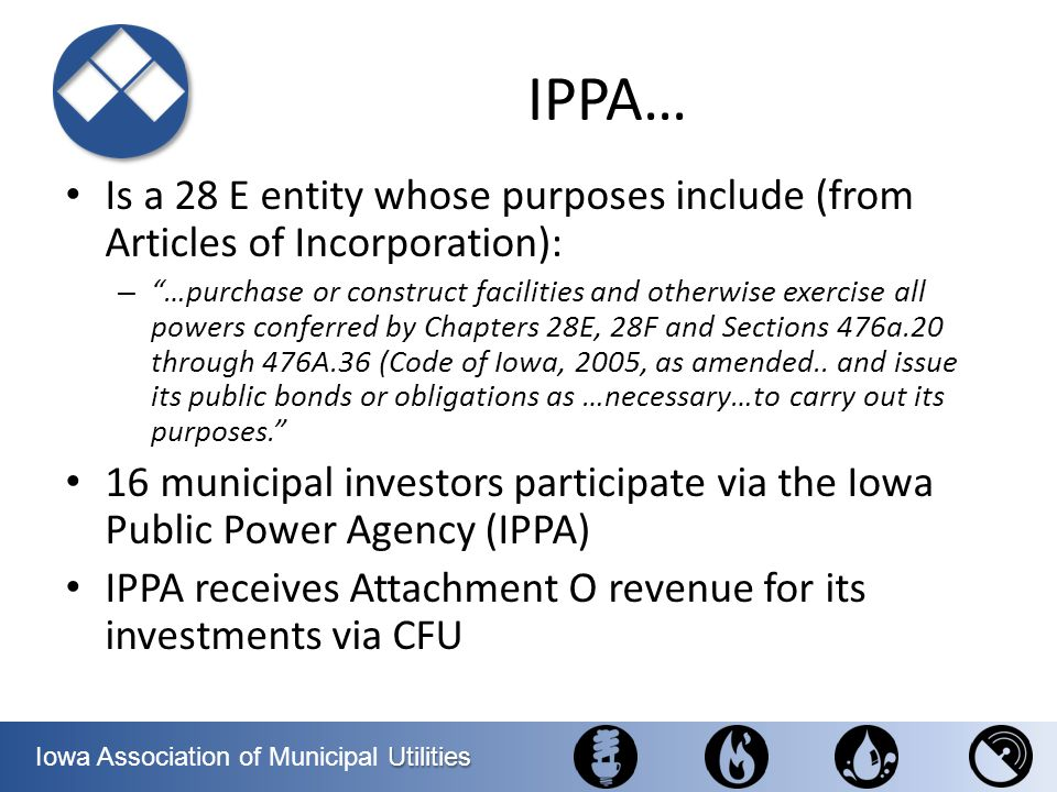 Utilities Iowa Association of Municipal Utilities House of Representatives Overview 233 Republicans – 201 Democrats – Despite Dems net pickup of 8 seats, Rs retain significant majority – Party leadership remains the same: Boehner (R- OH) and, unofficially, Pelosi (D-CA) – Moderates on both sides have been decimated; outlook for bipartisanship is dim – Most members have served two terms or fewer – White males are minority in D caucus for first time