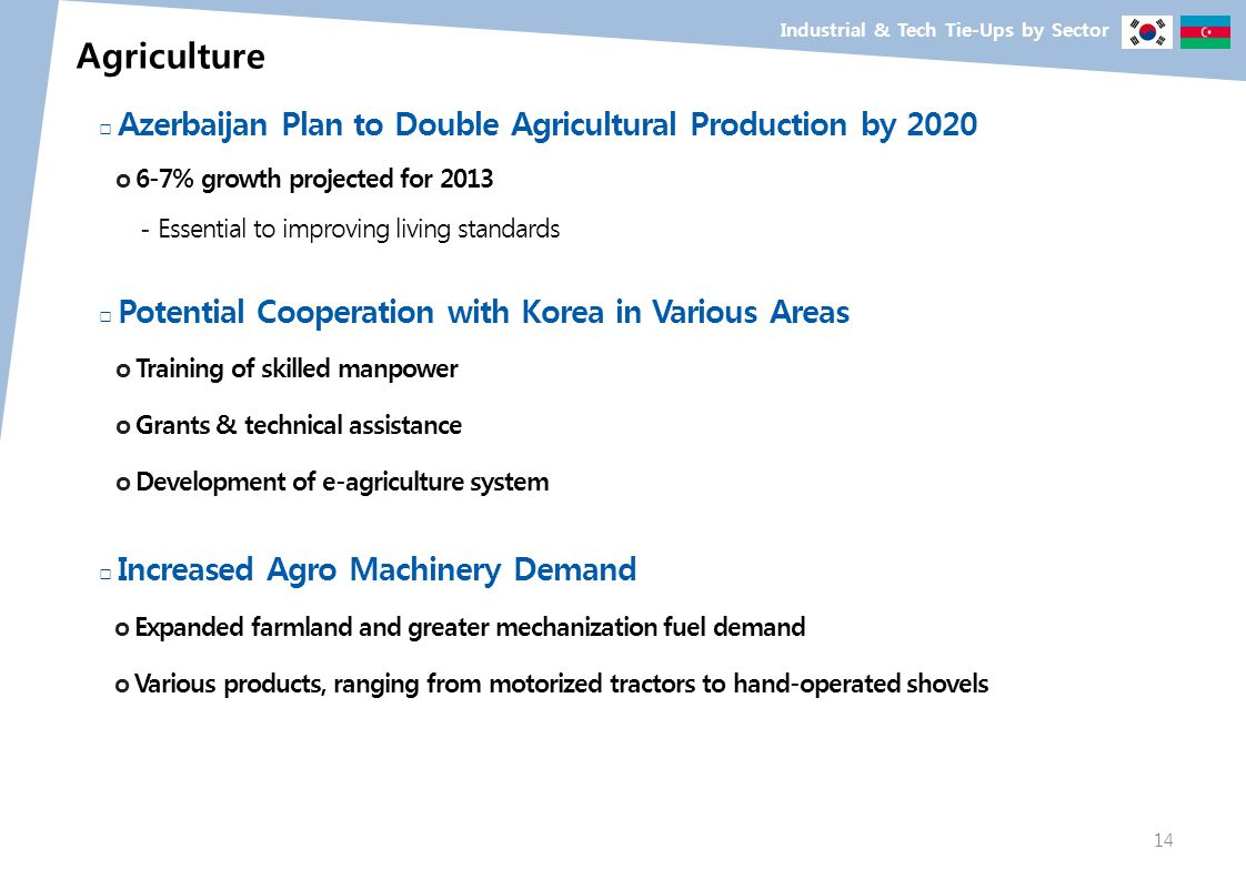 Industrial & Tech Tie-Ups by Sector Agriculture Azerbaijan Plan to Double Agricultural Production by 2020 o 6-7% growth projected for 2013 - Essential