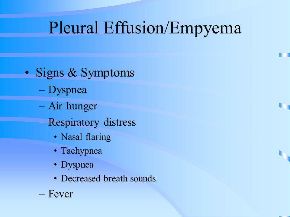 Pleural Effusion/Empyema Signs & Symptoms –Dyspnea –Air hunger –Respiratory distress Nasal flaring Tachypnea Dyspnea Decreased breath sounds –Fever