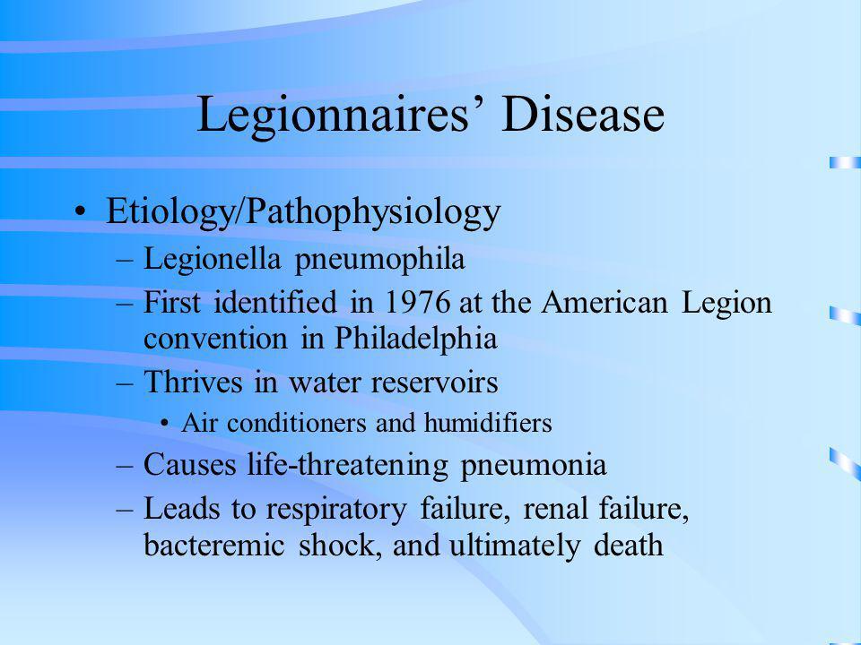 Legionnaires Disease Etiology/Pathophysiology –Legionella pneumophila –First identified in 1976 at the American Legion convention in Philadelphia –Thr