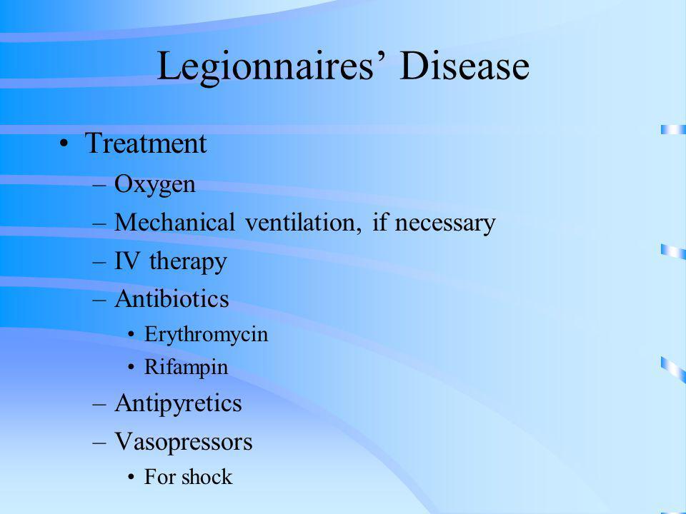 Legionnaires Disease Treatment –Oxygen –Mechanical ventilation, if necessary –IV therapy –Antibiotics Erythromycin Rifampin –Antipyretics –Vasopressor