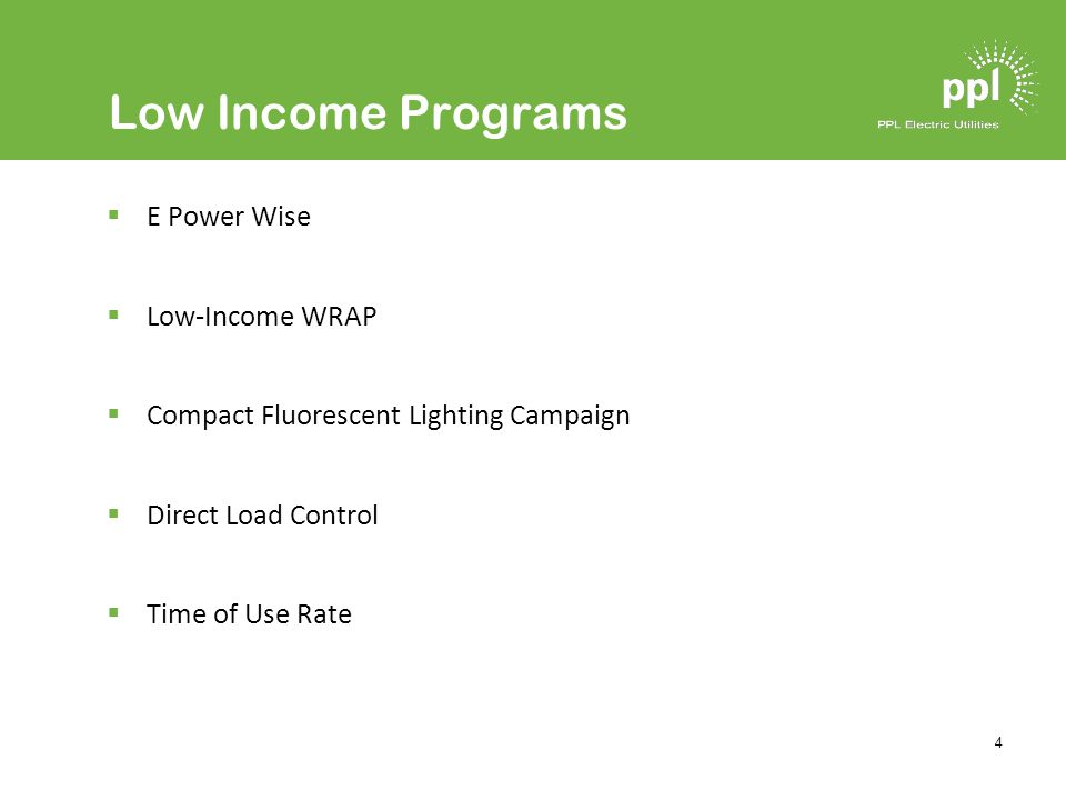 4 Low Income Programs E Power Wise Low-Income WRAP Compact Fluorescent Lighting Campaign Direct Load Control Time of Use Rate