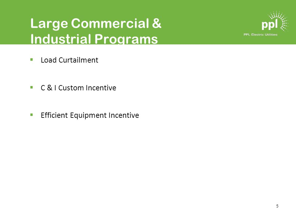 5 Large Commercial & Industrial Programs Load Curtailment C & I Custom Incentive Efficient Equipment Incentive