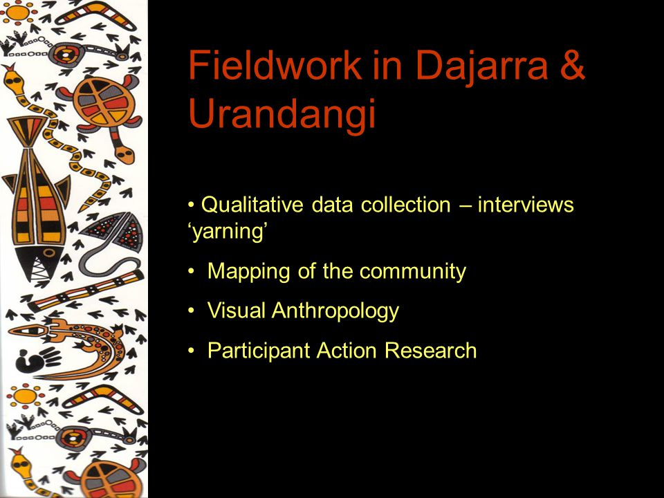 Fieldwork in Dajarra & Urandangi Qualitative data collection – interviews yarning Mapping of the community Visual Anthropology Participant Action Research