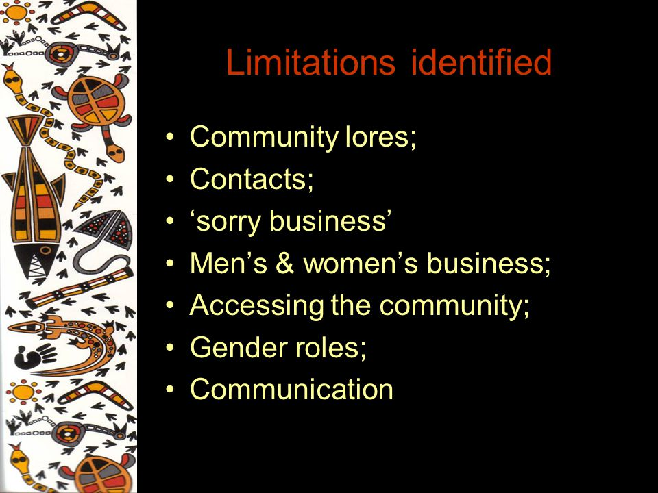 Limitations identified Community lores; Contacts; sorry business Mens & womens business; Accessing the community; Gender roles; Communication