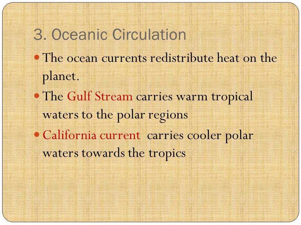 3. Oceanic Circulation The ocean currents redistribute heat on the planet. The Gulf Stream carries warm tropical waters to the polar regions Californi