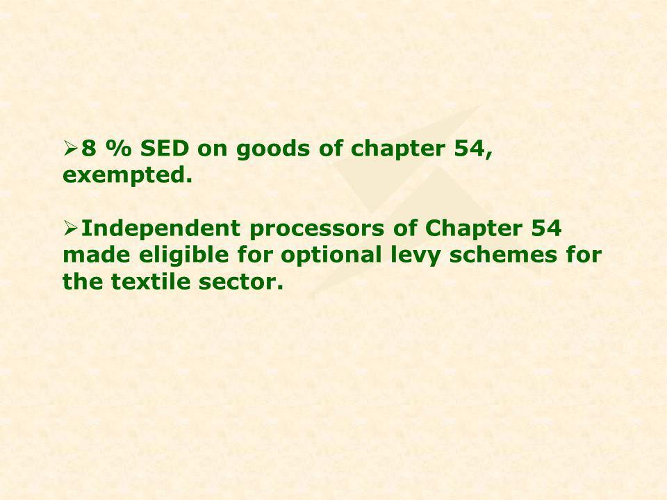 8 % SED on goods of chapter 54, exempted.