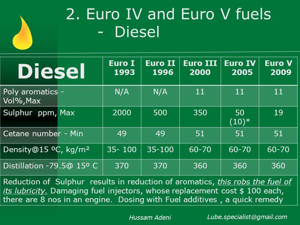2. Euro IV and Euro V fuels - Diesel Hussam Adeni Lube.specialist@gmail.com Diesel Euro I 1993 Euro II 1996 Euro III 2000 Euro IV 2005 Euro V 2009 Pol