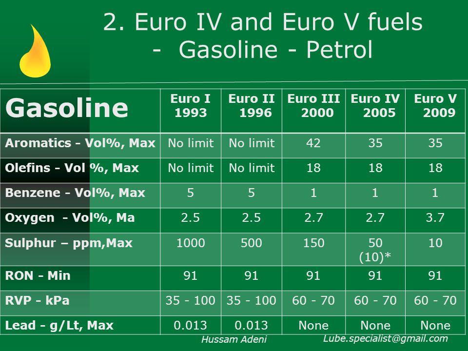 2. Euro IV and Euro V fuels - Gasoline - Petrol Hussam Adeni Lube.specialist@gmail.com Gasoline Euro I 1993 Euro II 1996 Euro III 2000 Euro IV 2005 Eu