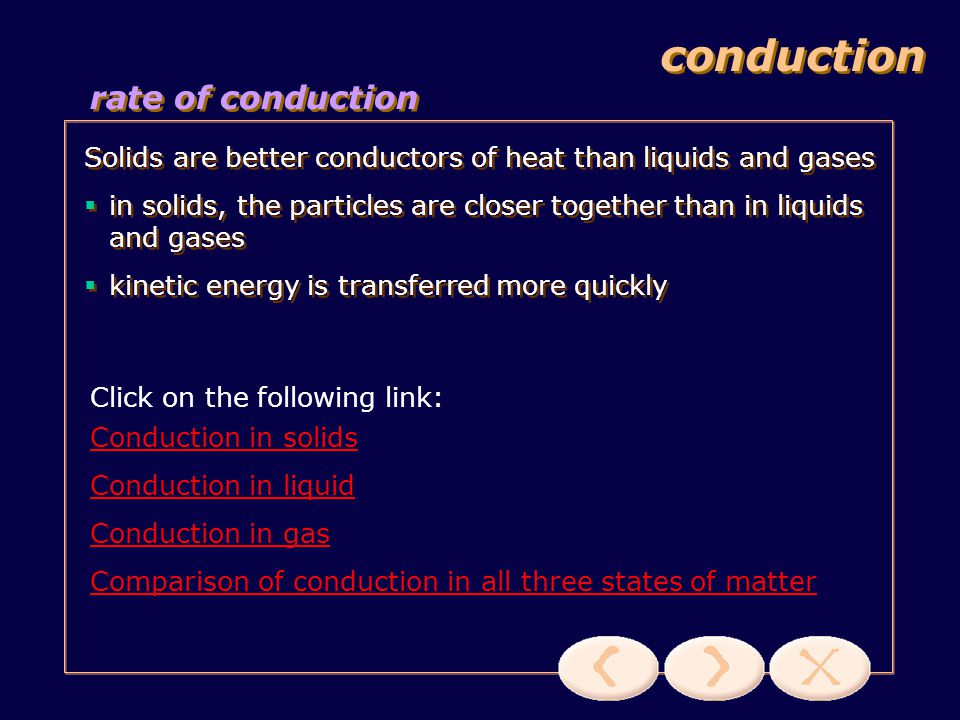 conduction how conduction works this transfer of energy from particle to particle continues until thermal equilibrium is reached no net movement of particles during conduction, the particles merely vibrate about its rest position this transfer of energy from particle to particle continues until thermal equilibrium is reached no net movement of particles during conduction, the particles merely vibrate about its rest position Click on the following link: Look under conduction & click on Start heating