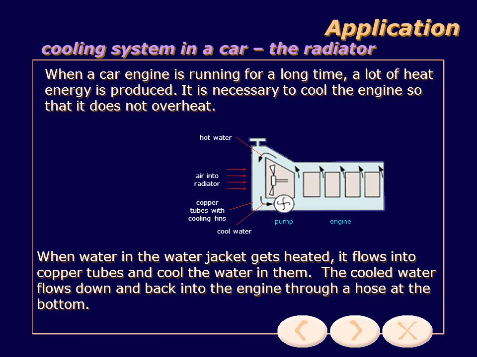 hot water system Application A hot water system makes use of the principle of convection.