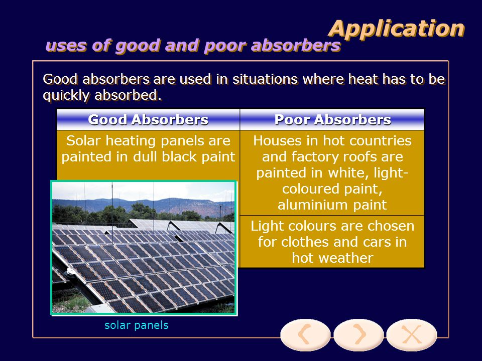uses of good and poor emitters Application Good emitters are used in situations where heat has to be quickly emitted.