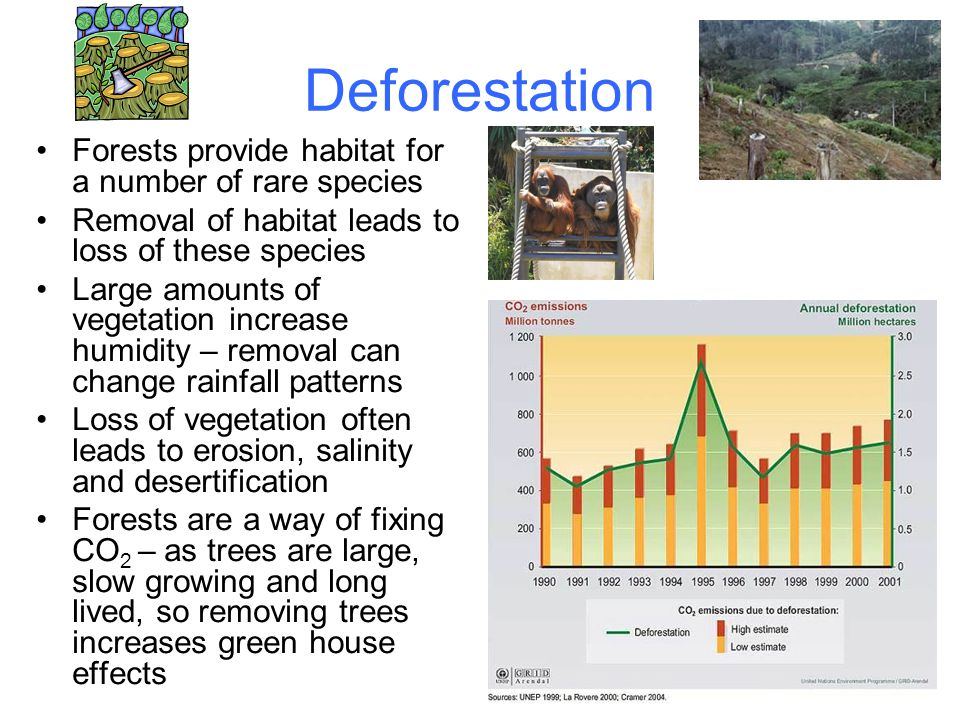 Deforestation Forests provide habitat for a number of rare species Removal of habitat leads to loss of these species Large amounts of vegetation increase humidity – removal can change rainfall patterns Loss of vegetation often leads to erosion, salinity and desertification Forests are a way of fixing CO 2 – as trees are large, slow growing and long lived, so removing trees increases green house effects