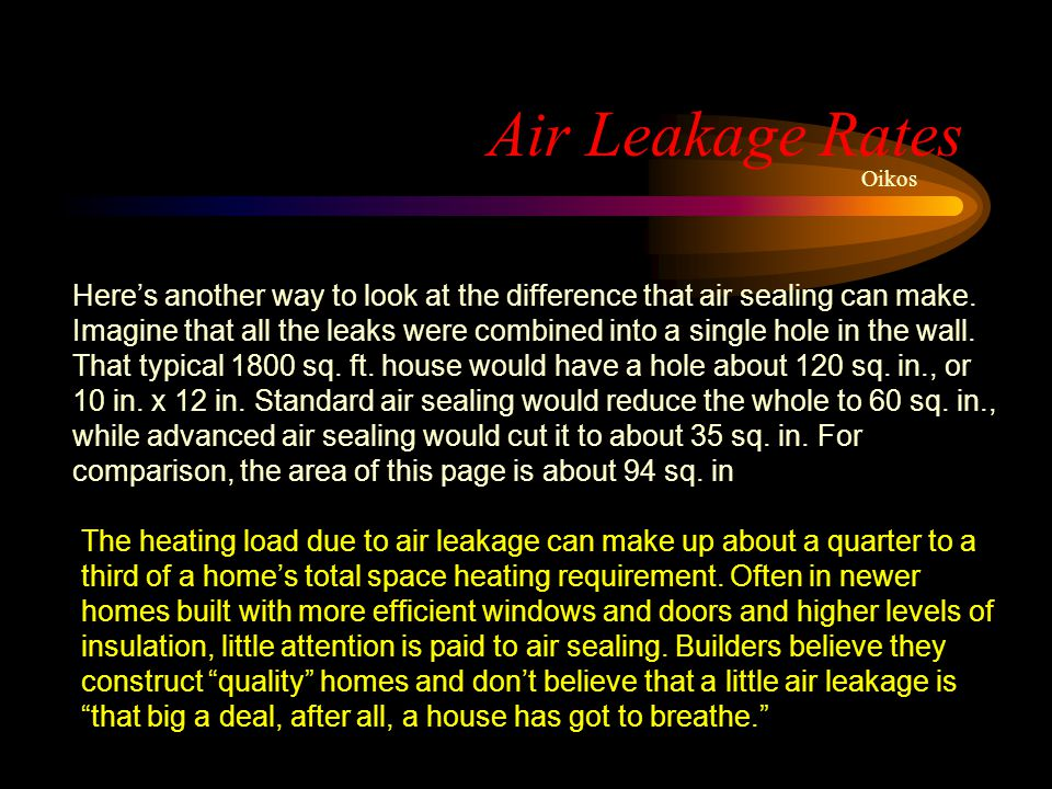 Air Leakage Rates Oikos Heres another way to look at the difference that air sealing can make. Imagine that all the leaks were combined into a single