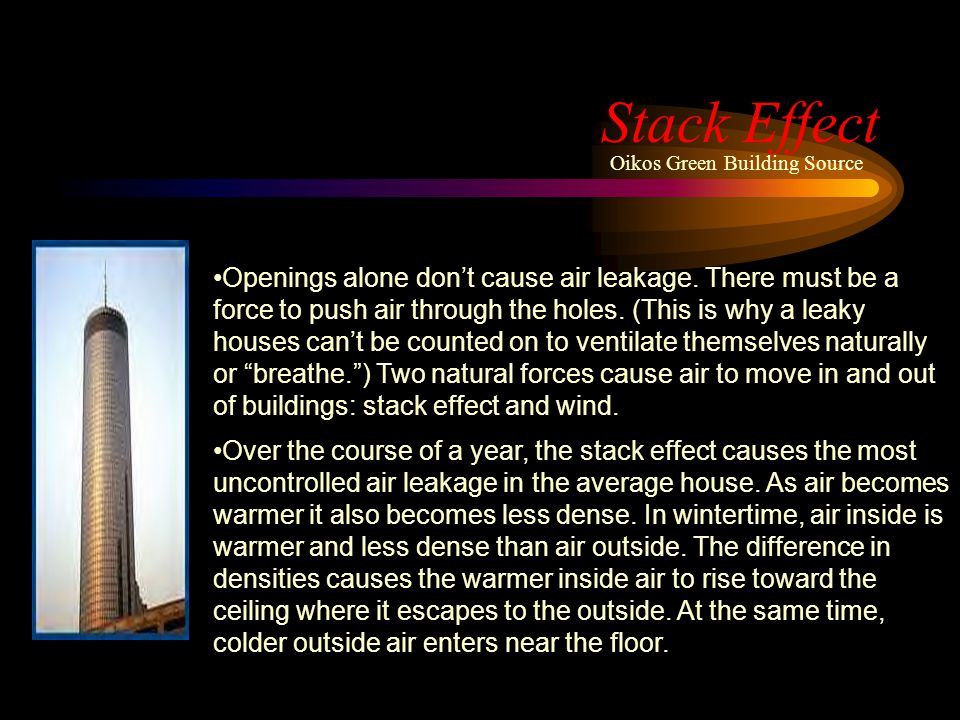 Stack Effect Openings alone dont cause air leakage. There must be a force to push air through the holes. (This is why a leaky houses cant be counted o