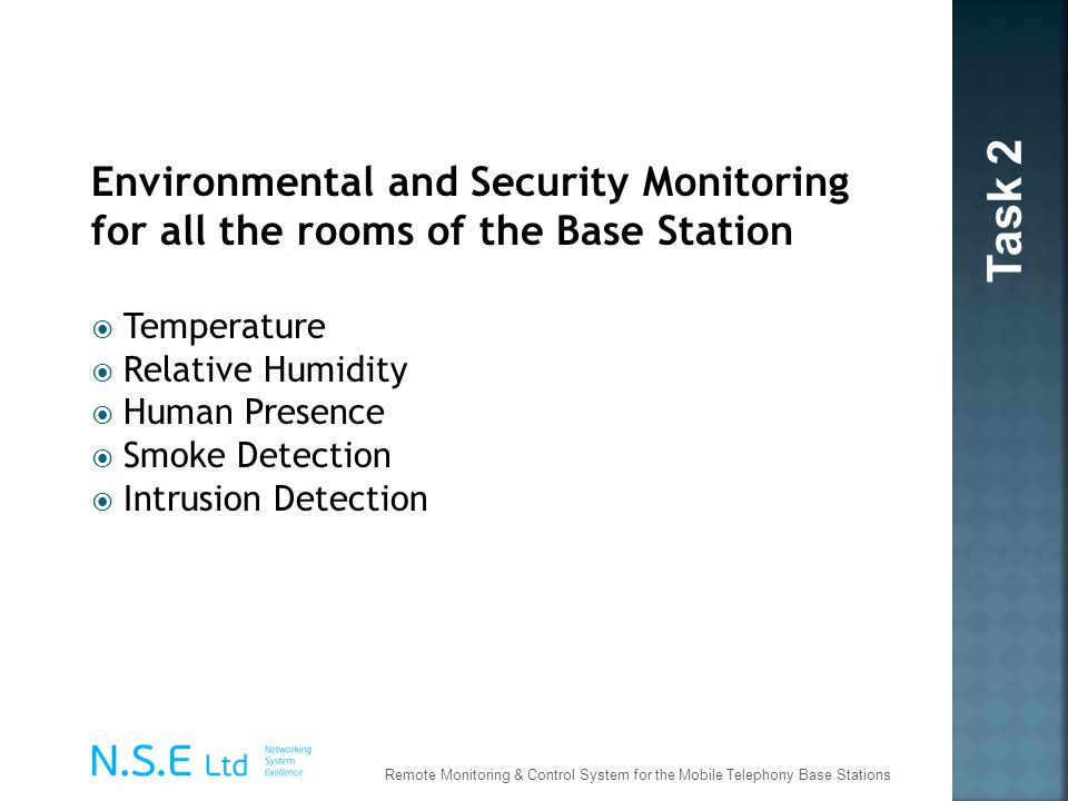 Environmental and Security Monitoring for all the rooms of the Base Station Temperature Relative Humidity Human Presence Smoke Detection Intrusion Det