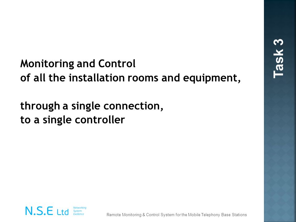 Monitoring and Control of all the installation rooms and equipment, through a single connection, to a single controller Task 3 Remote Monitoring & Con