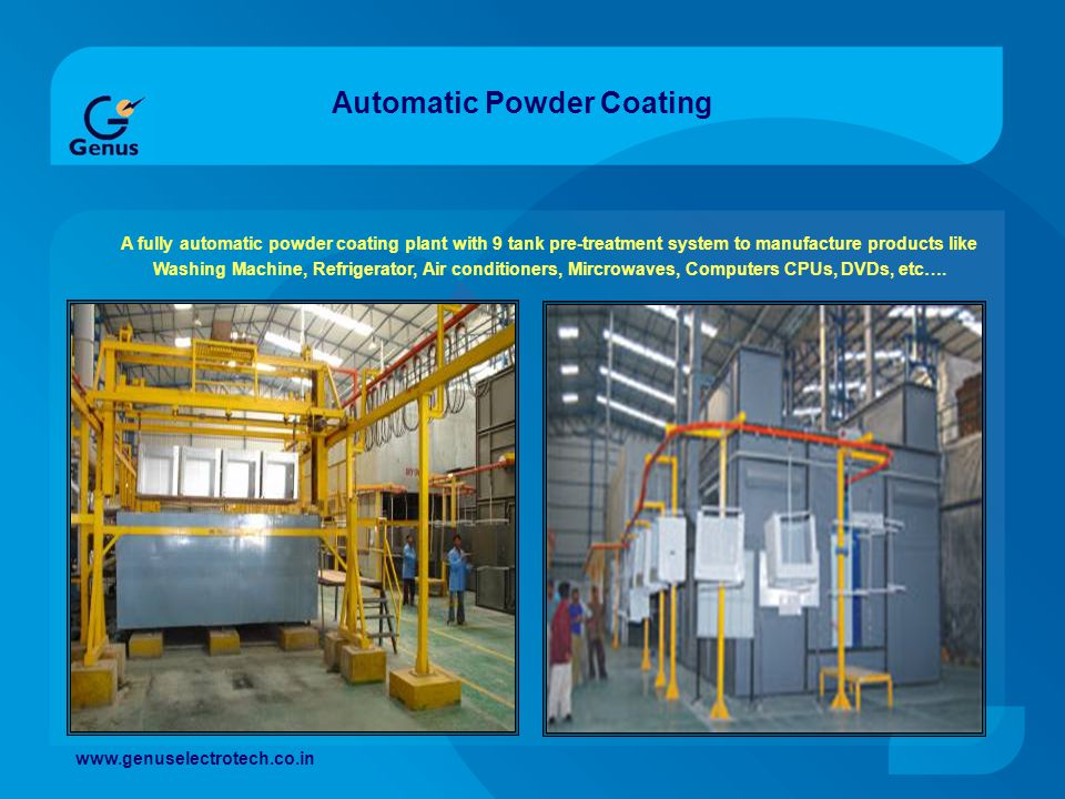 Automatic Powder Coating A fully automatic powder coating plant with 9 tank pre-treatment system to manufacture products like Washing Machine, Refrige
