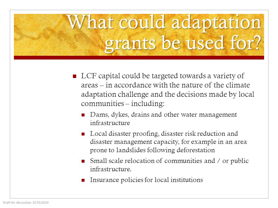 What could adaptation grants be used for? LCF capital could be targeted towards a variety of areas – in accordance with the nature of the climate adap