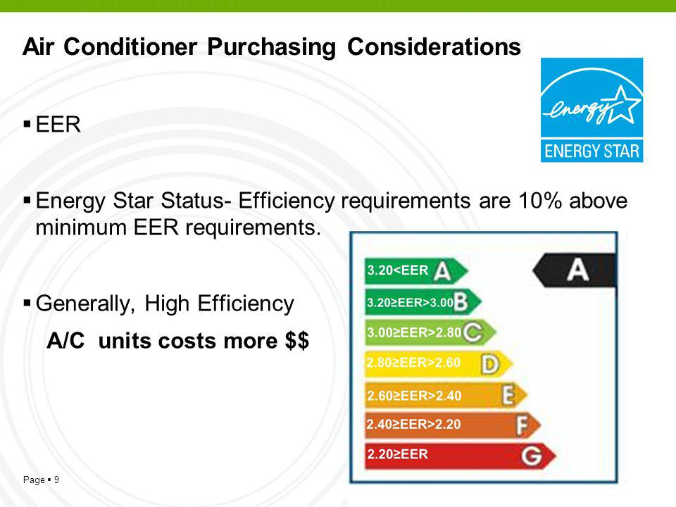 Page 9 Air Conditioner Purchasing Considerations EER Energy Star Status- Efficiency requirements are 10% above minimum EER requirements.
