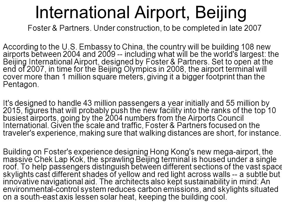 International Airport, Beijing Foster & Partners.