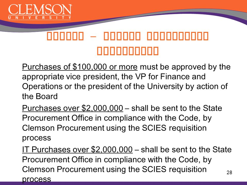 Purchases of $100,000 or more must be approved by the appropriate vice president, the VP for Finance and Operations or the president of the University