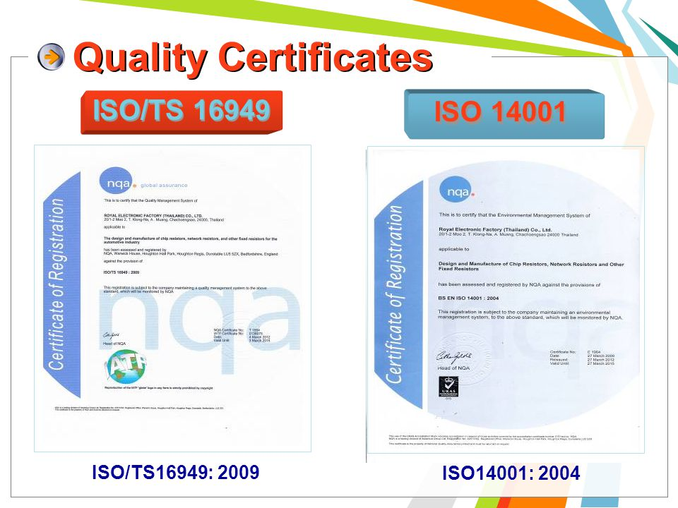 Quality Certificates ISO/TS 16949 Quality Certificates ISO 14001 ISO/TS16949: 2009 ISO14001: 2004