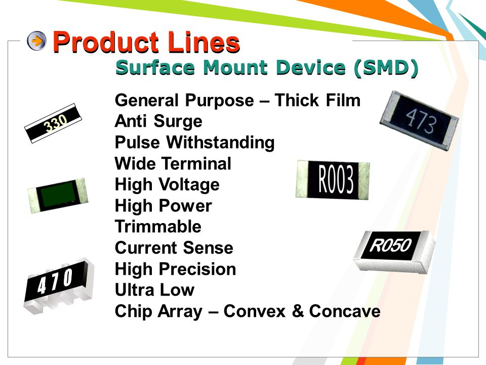 Product Lines 6 General Purpose – Thick Film Anti Surge Pulse Withstanding Wide Terminal High Voltage High Power Trimmable Current Sense High Precision Ultra Low Chip Array – Convex & Concave 330 Surface Mount Device (SMD)