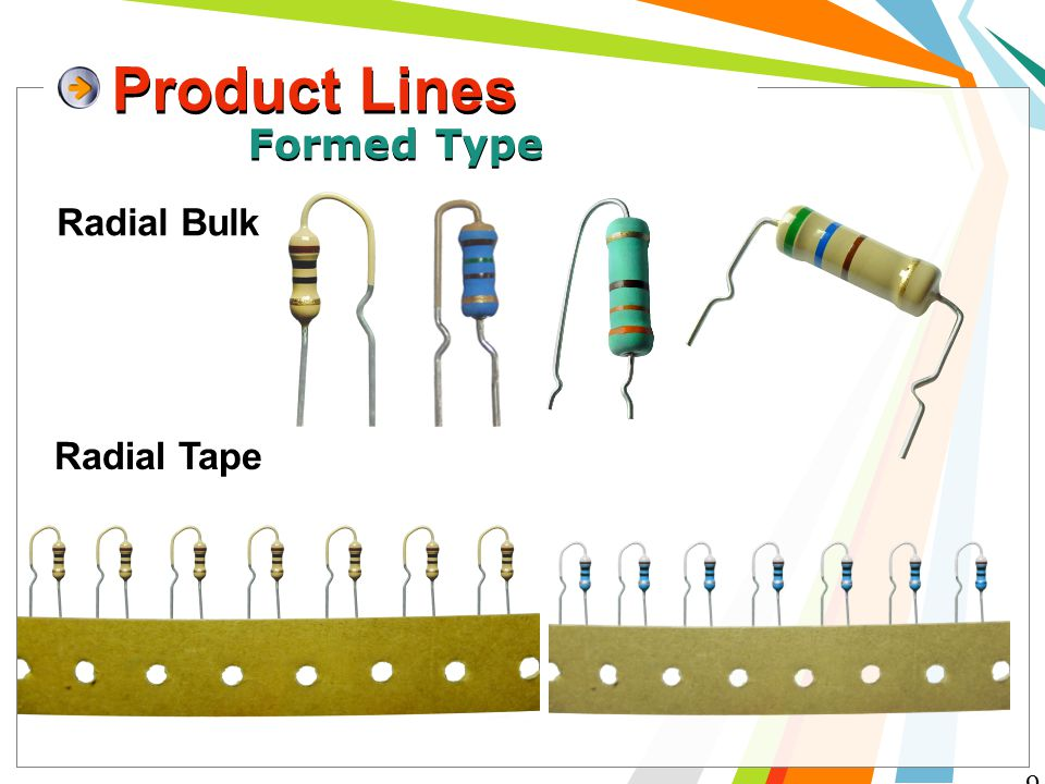 Product Lines 9 Formed Type Radial Bulk Radial Tape