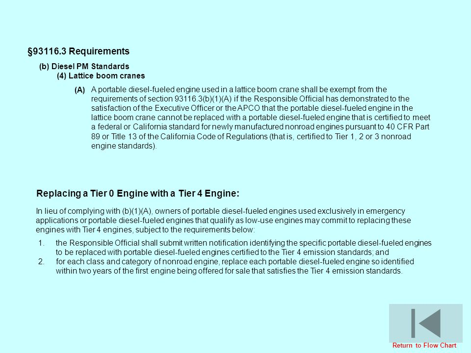 A portable diesel-fueled engine used in a lattice boom crane shall be exempt from the requirements of section 93116.3(b)(1)(A) if the Responsible Offi