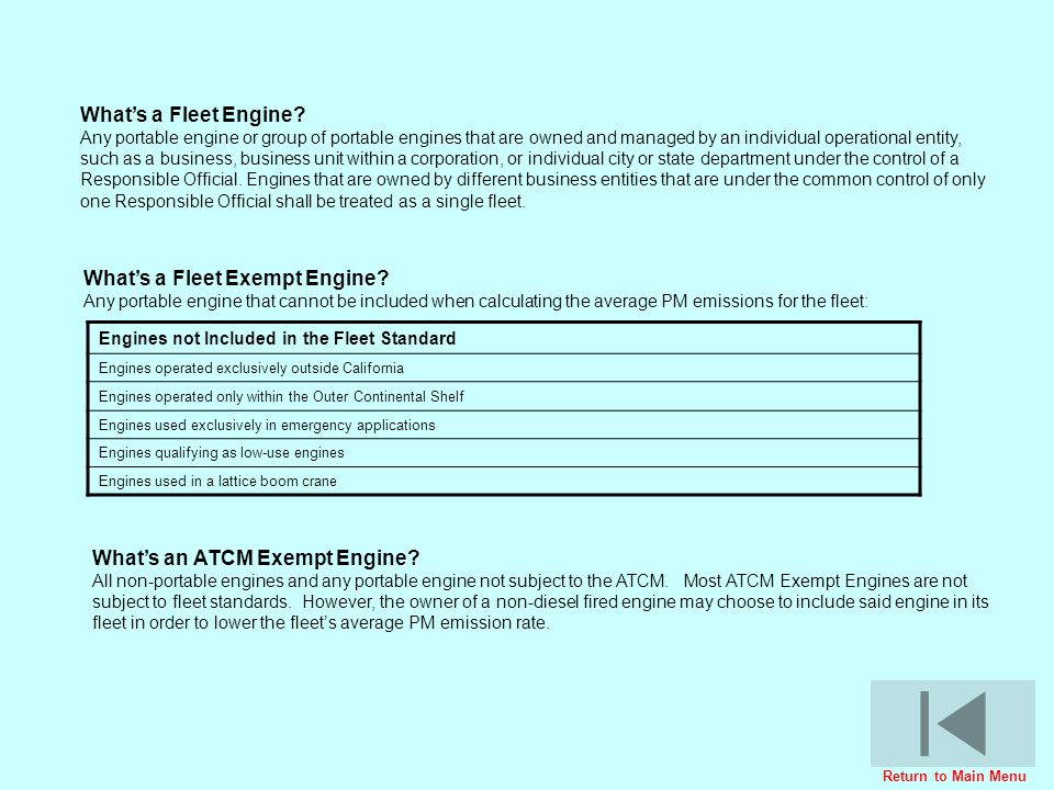 Whats a Fleet Engine? Any portable engine or group of portable engines that are owned and managed by an individual operational entity, such as a busin