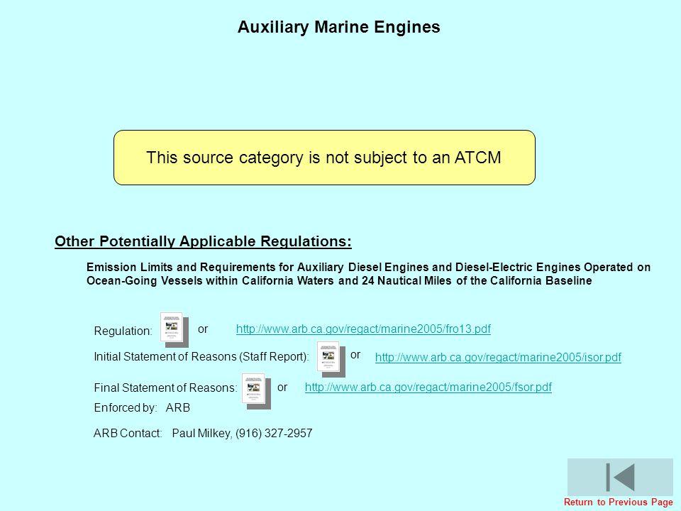 Cargo Handling Equipment Regulatory ActivitiesCargo Handling Equipment Regulatory Activities Auxiliary Marine Engines This source category is not subj
