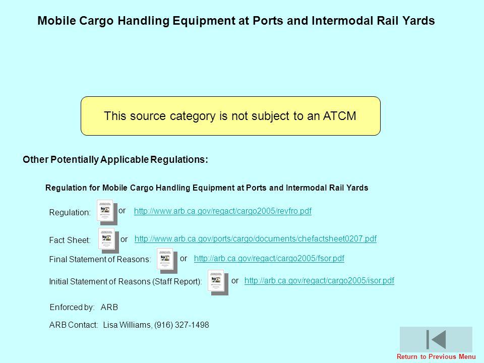 Cargo Handling Equipment Regulatory ActivitiesCargo Handling Equipment Regulatory Activities Mobile Cargo Handling Equipment at Ports and Intermodal R