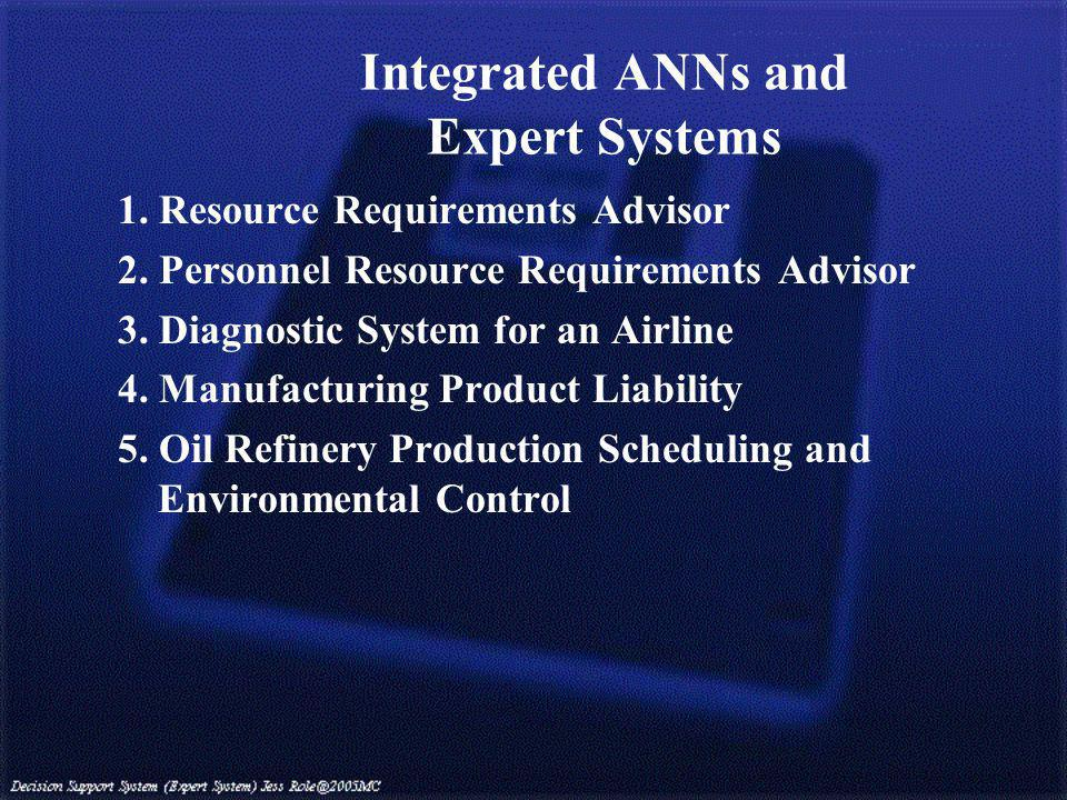 Integrated ANNs and Expert Systems 1. Resource Requirements Advisor 2.