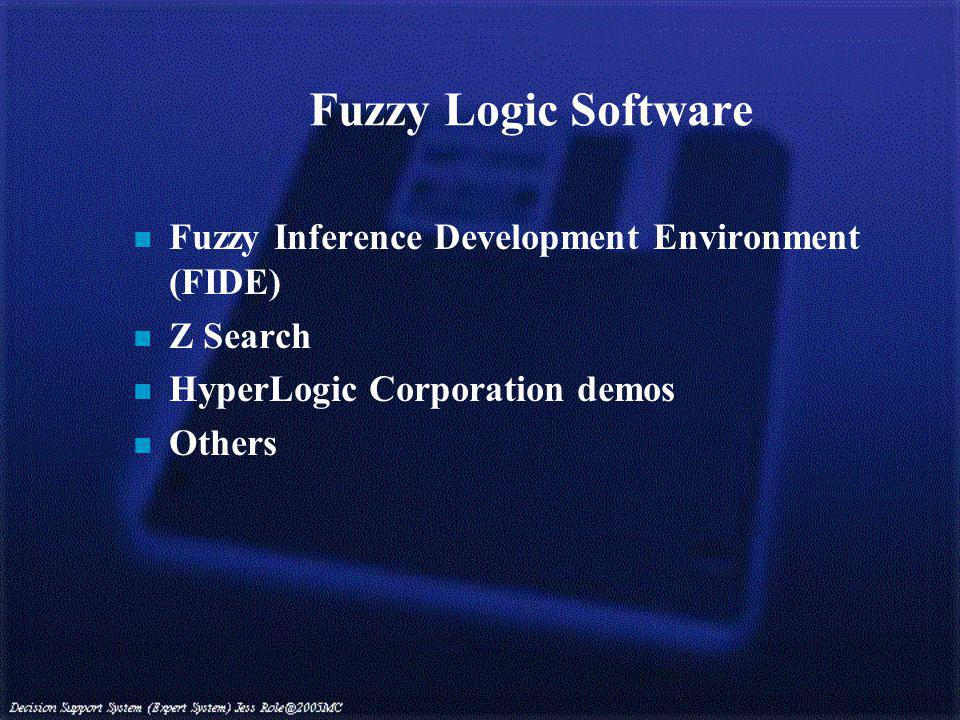 Fuzzy Logic Software n Fuzzy Inference Development Environment (FIDE) n Z Search n HyperLogic Corporation demos n Others