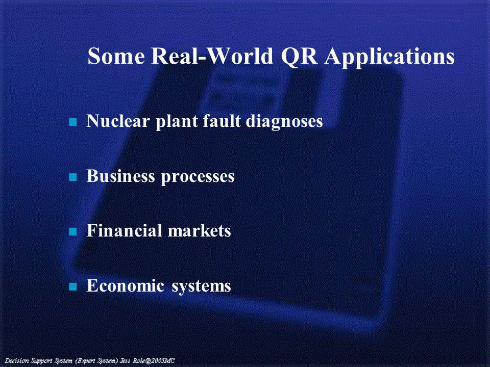Some Real-World QR Applications n Nuclear plant fault diagnoses n Business processes n Financial markets n Economic systems