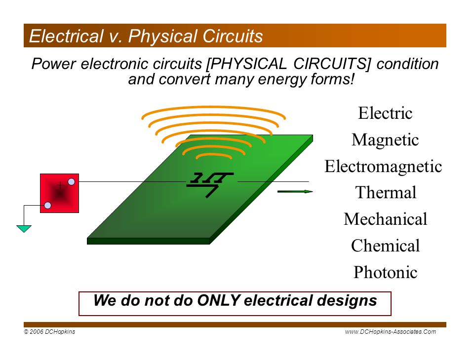 © 2006 DCHopkinswww.DCHopkins-Associates.Com + Electric Magnetic Electromagnetic Thermal Mechanical Chemical Photonic Electrical v.