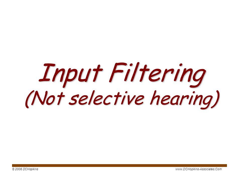 © 2006 DCHopkinswww.DCHopkins-Associates.Com Input Filtering (Not selective hearing)